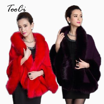 Fashion Women Faux Fur Coat Leather Grass Fox Fur Collar Ponchos And Capes Bridal Wedding Dress Shawl Cape Lady Wool Fur Coat