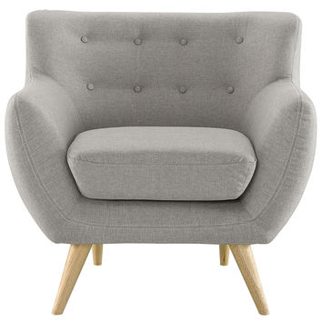 Modway Remark Armchair in Tufted Light Gray Fabric W/ Natural Finish Wood Legs