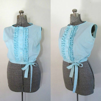 1960s Ruffled Crop Top Short Cotton Turquoise Button Front Blouse