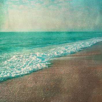 Vintage Beach Art Print - Aqua Tan Beach House Wall Art Whimsical Home Decor Photograph