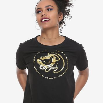 Disney The Lion King Simba Foil Drawing Girls Crop T-Shirt