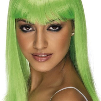 Neon Green Long Costume Wig With Bangs
