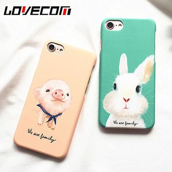 LOVECOM Hot Cartoon Pig Rabbit Frosted Hard PC Phone Back Cover Case For iPhone 6 6S 7 7 Plus New Capa Coque Shells