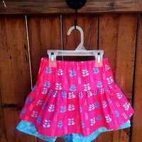 Girl's Double Ruffle Skirt in Pink and Blue