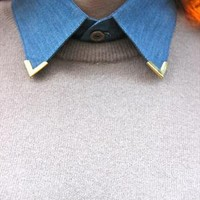 Denim detachable collar with metal corners from TIQUE