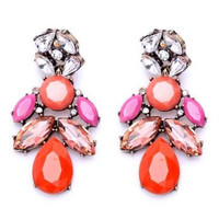 Pink Rhinestone Statement Earrings