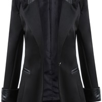 Posh Girl Black Tuxedo Leather Trim Blazer