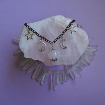 witchy crystal ball necklace, pastel goth, grunge, gothic jewelry, wiccan jewelry, pagan necklace, moon necklace, soft grunge