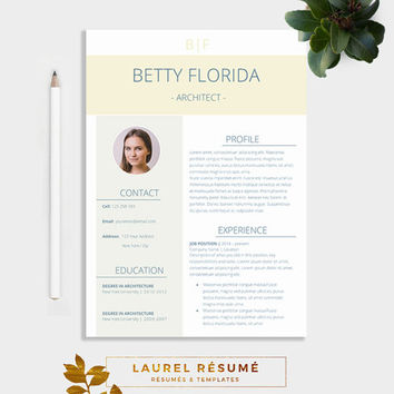 Elegant Résumé Template. 3 Pages Resume + Cover Letter + 1 Page References  + CV  3 Page Resume
