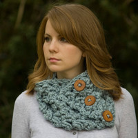 Gray Cowl, Wood Button Neck Warmer, Puff Stitch Neckwarmer, Women's Cowl