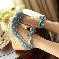 Bowknot Wave Dot Waterproof Platform Heels Shoes