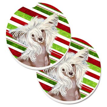 Chinese Crested Candy Cane Holiday Christmas Set of 2 Cup Holder Car Coasters LH9257CARC