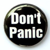 Don't Panic Button Pin by theangryrobot