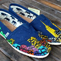 Portland to New York City Skyline TOMS by BStreetShoes on Etsy