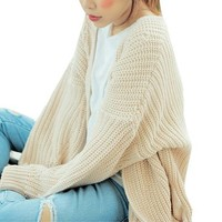 LookbookStore Fashion Oversize Wrap Knit Long Sleeves Women's Cardigan US 4
