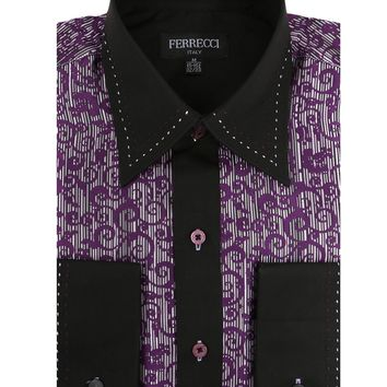 Ferrecci Men's Satine Hi-1007 Purple Scroll Pattern Button Down Dress Shirt