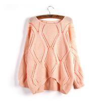 Asymmetric Pullover Crochet Loose Solid Short Sweater