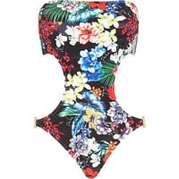 River Island Womens Black Pacha floral print bandeau swimsuit