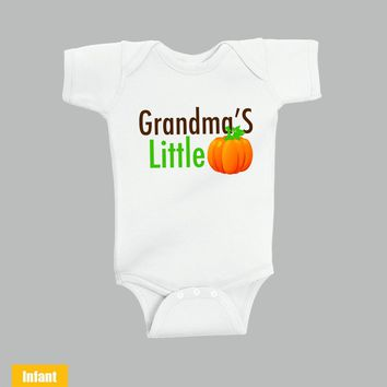 Halloween Cute Infant Lap Shoulder Bodysuit - Grandma's Little Pumpkin - Infant Lap Shoulder Bodysuit