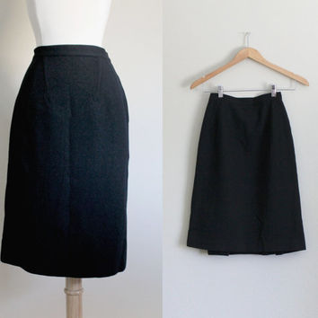 1950s Black Pleated Wool Pencil Skirt by Benjamin of Hollywood // Extra Small XS