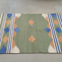 Vintage Woven Cotton Dhurrie Rug Blue Green Kaithal India