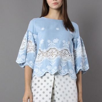 La Bella Lace Cutout Smock Top