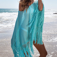 Blue Knitted Tassels Poncho Cover Up Blouse