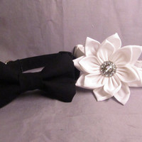 Wedding Dog Collar Set - White dog collar and flower and Black dog collar and bow tie