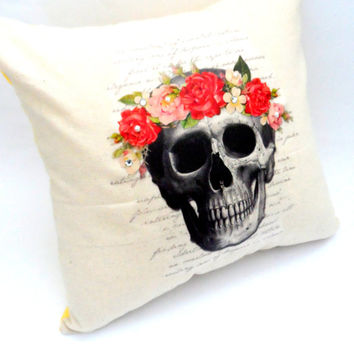 Bohemian Floral Goddess Skull Home Decor, Black and Cream, Envelope Back, 14X14, Shabby Chic Slip Cover