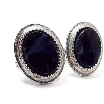 Blue Sodalite Gemstone Cufflinks, Swank Cuff Links, Silver Tone Oval, Dark Blue, Retro 1970s 70s, Mens Formal Fall Jewelry