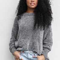 Share The Warmth Gray Chenille Sweater