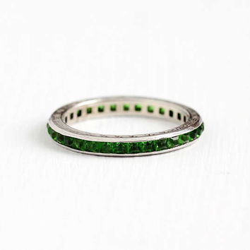 Vintage Art Deco Sterling Silver Simulated Emerald Ring - 1920s Size 7 1/4 Eternity Channel Set Green Glass Stones Eternity Stacking Jewelry