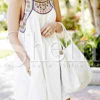 White Sleeveless Tribal Embroidered Dress -SheIn(Sheinside)