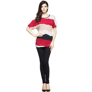 Plus Size Batwing Sleeve Tops in Short Sleeve Casual Striped Clothing for Summer!
