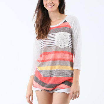 Playful Pretty Girl Top - Orange/Multi