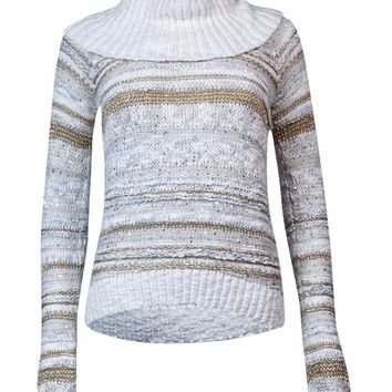 INC International Concepts Women's Cowl Neck Striped Sweater (XS, White/Gold)