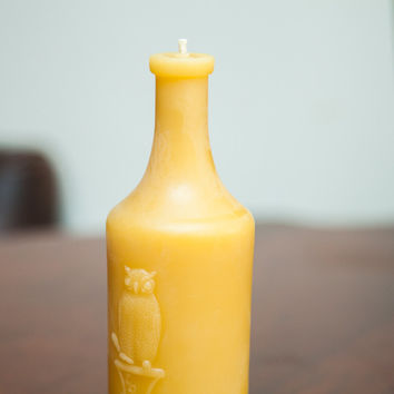 Antique Bottle Beeswax Candle Collection Prescription Drug Owl