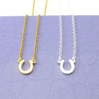 Gold or Silver Horseshoe Necklace / Lucky Charm / Gold or Silver Necklaces