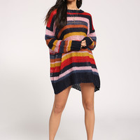 Multi Color Block Sweater Yarn Top