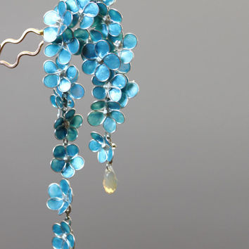 Resin Japanese Tsumami Kanzashi Silver Wire Wrapped Forget Me Not Flowers Swarovski Crystals
