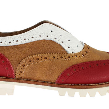 L'F Brown Red Wingtip Flat Broques Shoes
