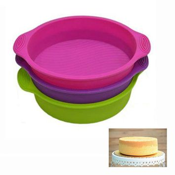 DCCKL72 3D Silicone Cake Mold Round Shape Cake Pan Pizza Cupcake Tray Bakeware DIY Maker Baking Tool  Cooking Tools Moule A Gateau