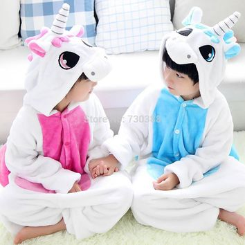 Children Pink Blue Unicorn Cosplay Costumes Kids Funny Pajamas Girls Boys Onesuit Halloween Carnival Costumes Nightgown Sleepwear
