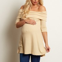 Beige-Off-the-Shoulder-Ribbed-Maternity-Top