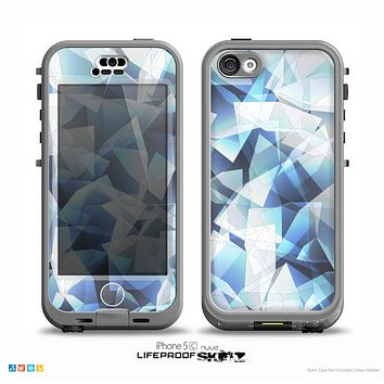 The Vector Abstract Shaped Blue Overlay V3 Skin for the iPhone 5c nüüd LifeProof Case