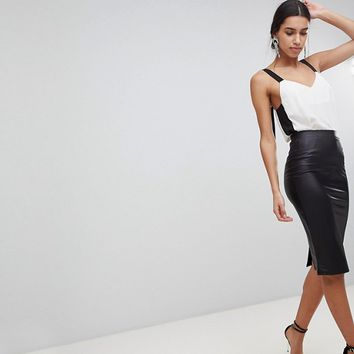 ASOS DESIGN leather look pencil skirt at asos.com