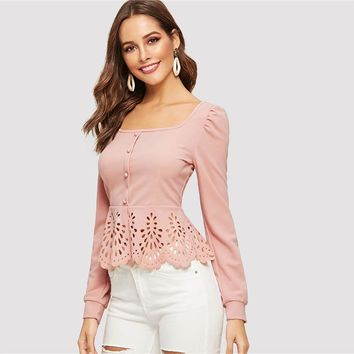 Button up Puff Sleeve Blouse