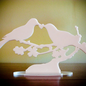 Bird Cake Topper LOVE BIRDS snowy white acrylic by BungalowGlow