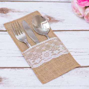 Burlap Silverware Holder Rustic Wedding Table Lace Burlap Decor Burlap Cutlery Holder Flatware Holder Wedding Set Cutlery Holder Set of 10