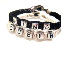 ON VACATION-King Queen Bracelets, Couples Bracelets, Personalized Jewelry, Couples GIft, Free US Shipping